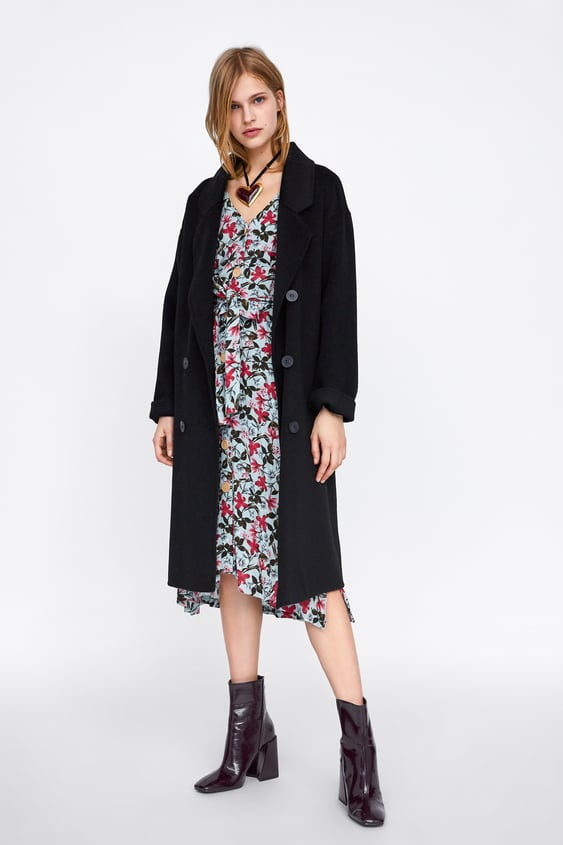 Floral Print Dress With Ruching  Midi Dresses Woman by Zara