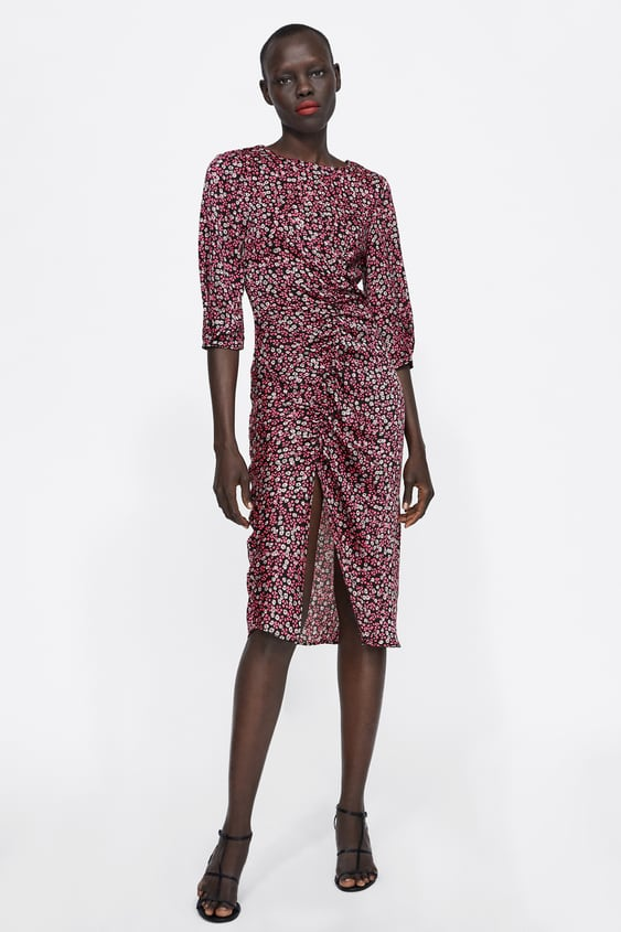 Floral Print Dress With Ruching  Pink Dresses Woman by Zara