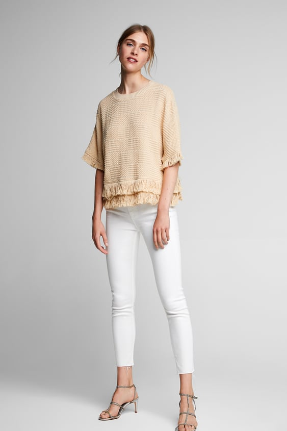 Fringed Tweed Top  Blouses Shirts by Zara
