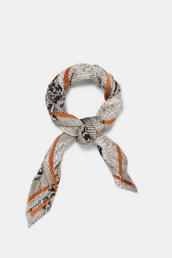 Pleated Neckerchief With Print  Collection Trf Woman Corner Shops by Zara