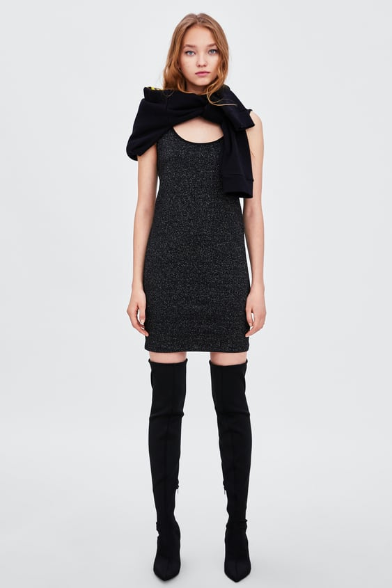Dress With Metallic Thread  Collection Soft 80's Trf by Zara