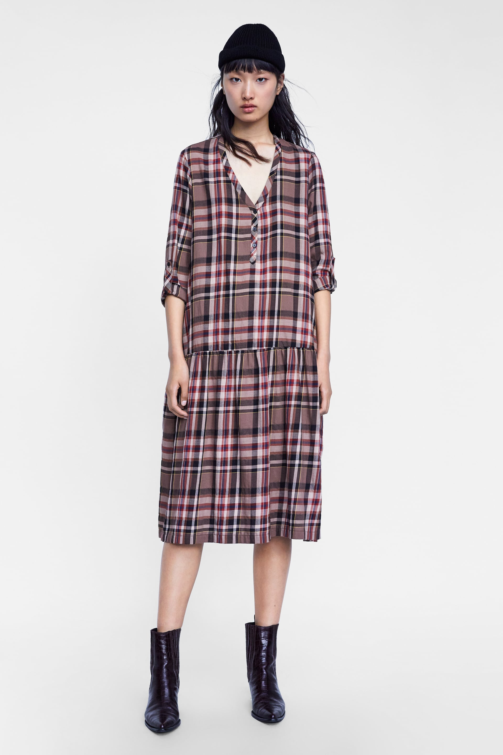 988216bb Zara DRESS ZW PREMIUM LONG CHECK at £39.99 | love the brands