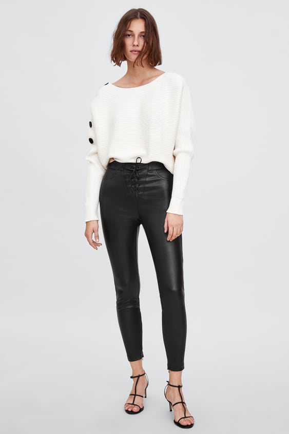 Faux Leather High Waist Drawstring Leggings  New Inwoman by Zara