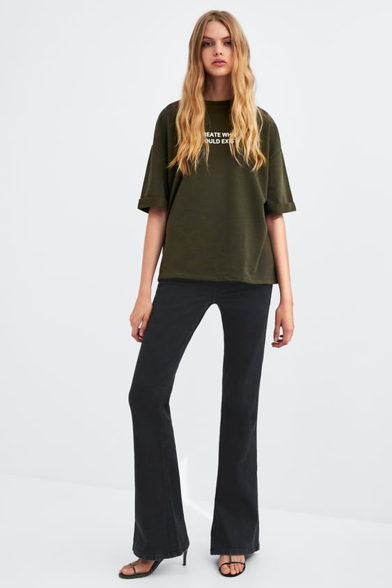 Plush T  Shirt With Text Graphic & Prints T Shirts Woman by Zara