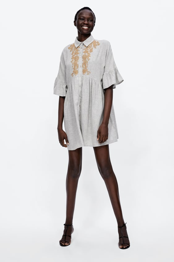 Embroidered Bib Front Dress  New Inwoman by Zara