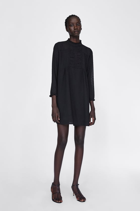 Contrast Dress With Sheer Sleeves  Long Sleeve Dresses Woman by Zara