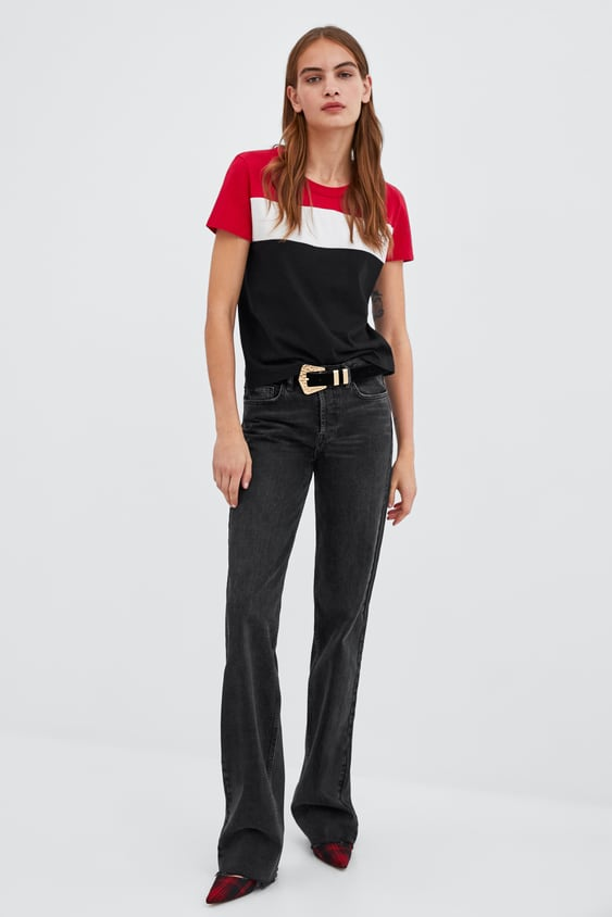 Colour Block T  Shirt With Slogan Graphic & Slogans T Shirts Trf by Zara