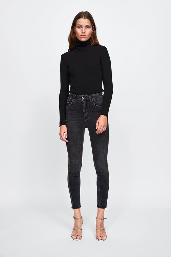 Z1975 Jeans With Metallic Thread Band  New Inwoman by Zara