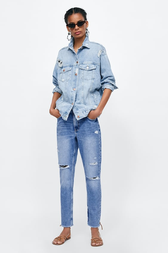 Mom Fit Jeans Z1975 With Patches  Mom Fit Fits Jeans Woman by Zara