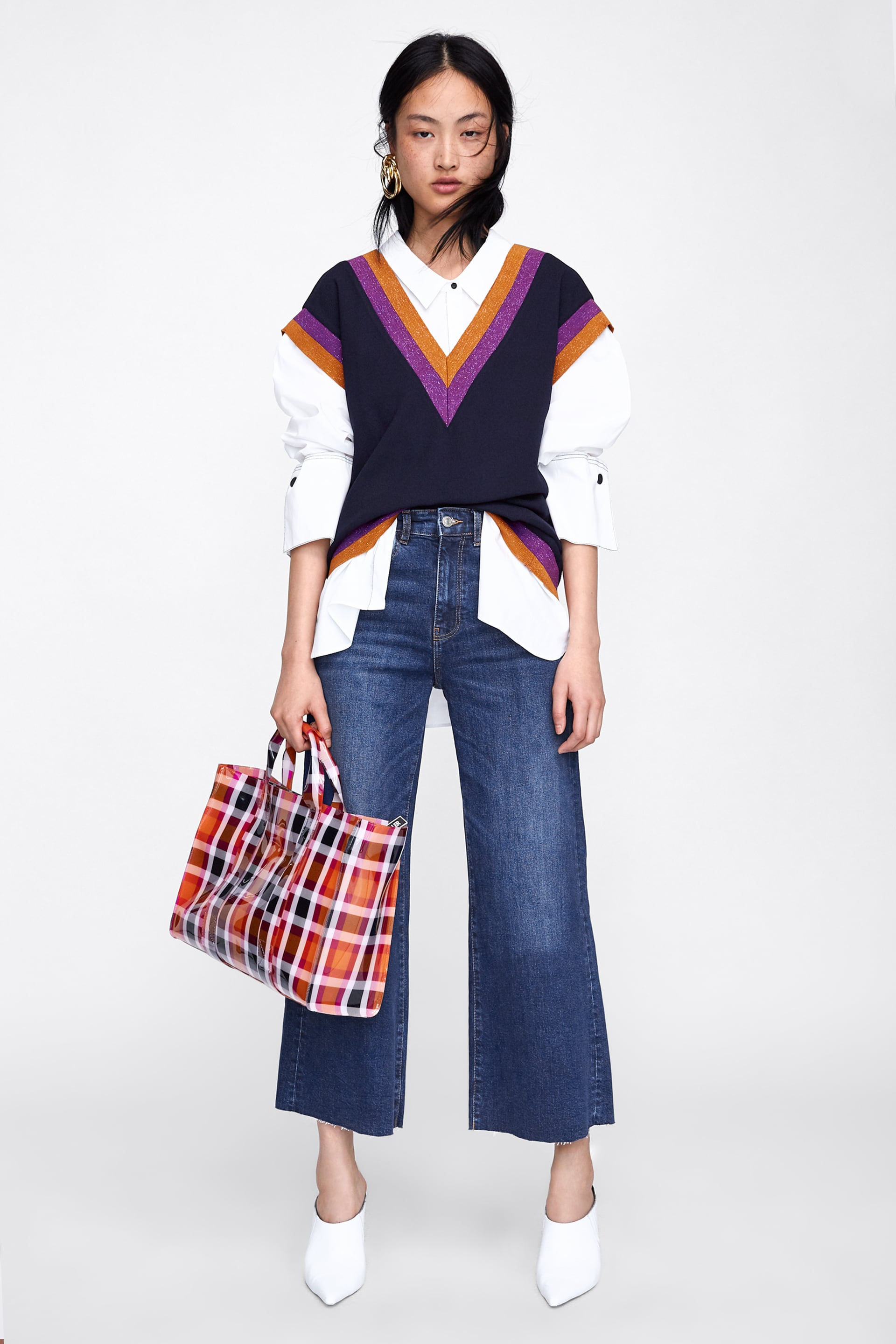 Cropped Hi  Rise Wideleg Jeans View All Jeans Woman by Zara