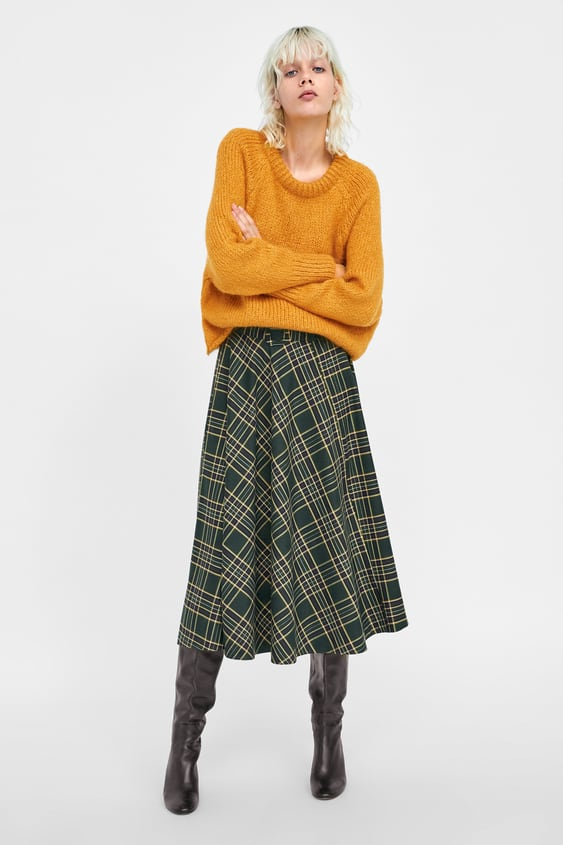 Round Neck Sweater  Midi Skirts Woman by Zara
