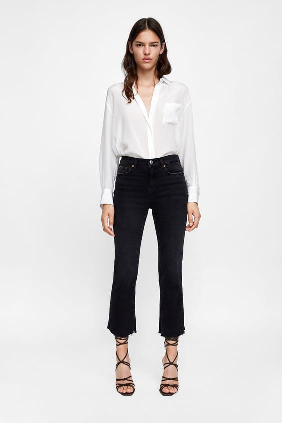 Jeans Zw Premium Bootcut Cropped Victory Black  Flared Fits Jeans Woman by Zara