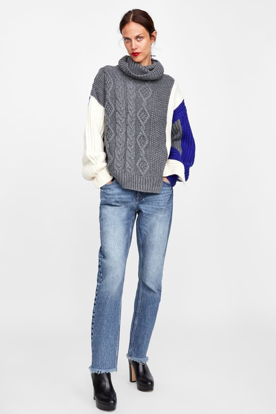 Colour Block Cable  Knit Sweaternew In Woman by Zara