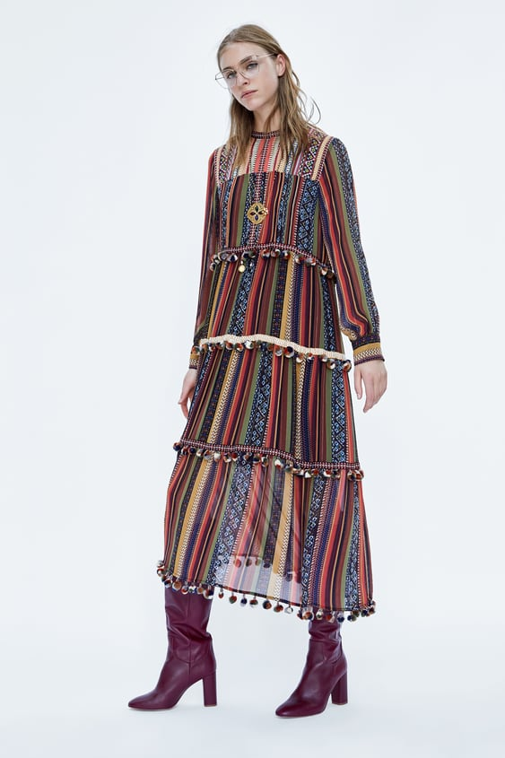 Striped Dress With Pompoms  Midi Dresses Woman by Zara