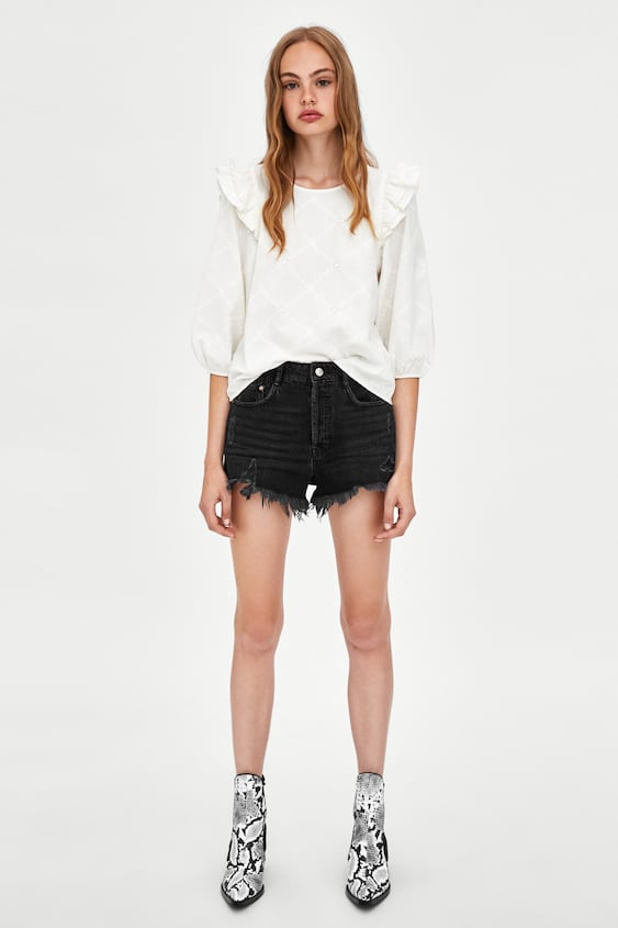 Embroidered Frilled Top  View All Shirts by Zara