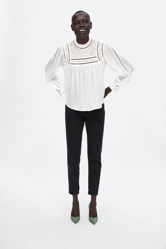 Embroidered Blouse With Lace Inserts  View All Shirts by Zara