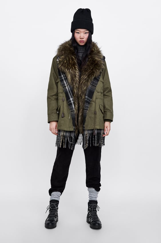 Contrasting Plaid Parka  View All Coats Woman by Zara