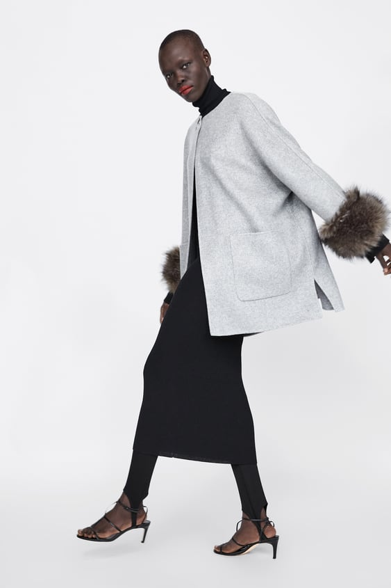 Coat With Faux Fur Cuffs by Zara