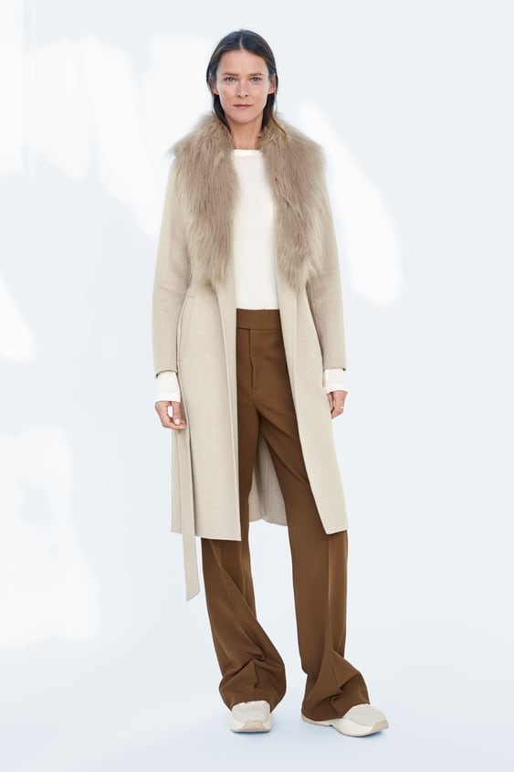 Coat With Faux Fur Collar  Collection Timeless Woman Corner Shops by Zara