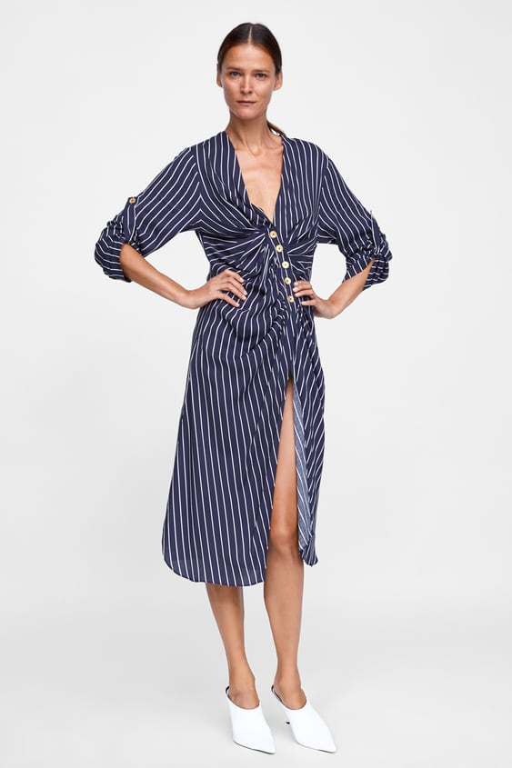 Striped Tunic With Draped Effect  New Inwoman by Zara