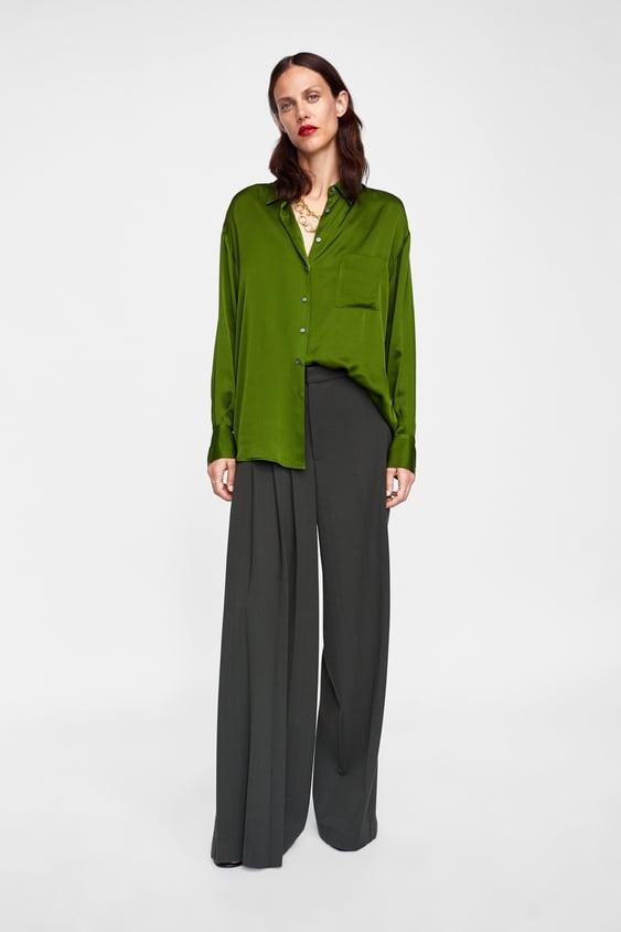 Bluse Med Satengeffekt  Se Alle Skjorter Og Bluser Dame by Zara