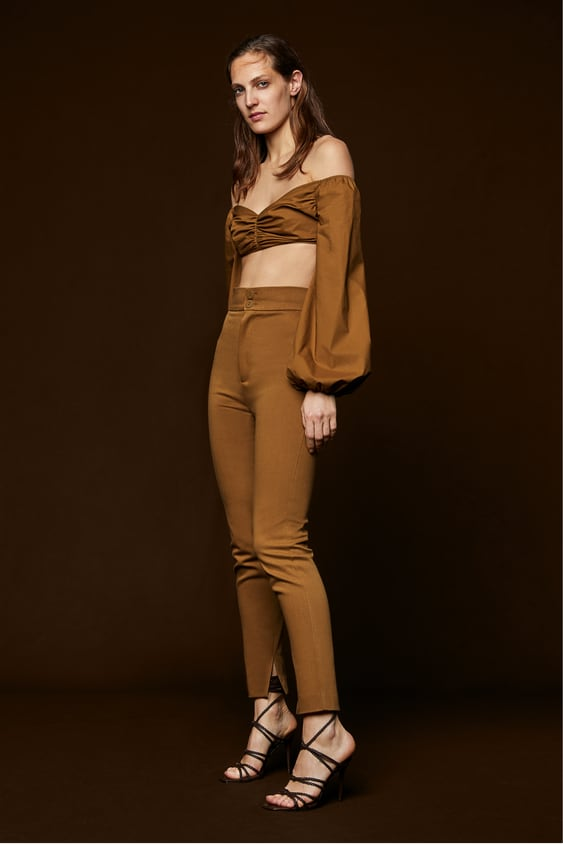 Cropped Topp Med Drapering  Topsdame by Zara