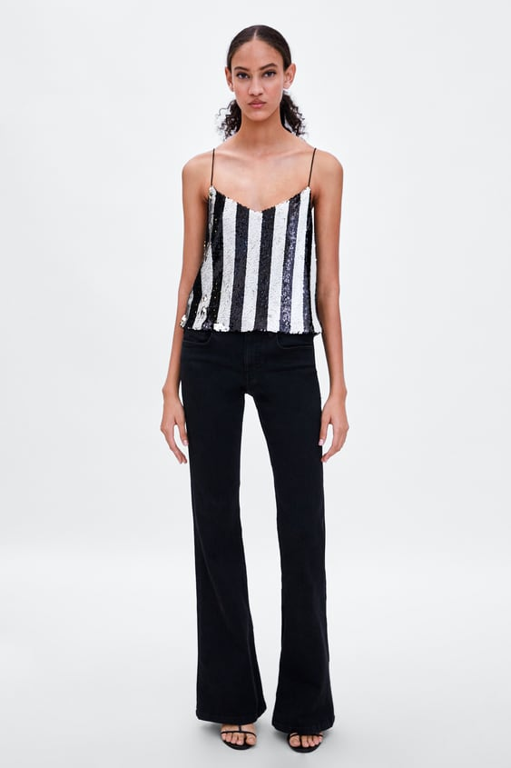Sequin Top With Straps  Topswoman by Zara