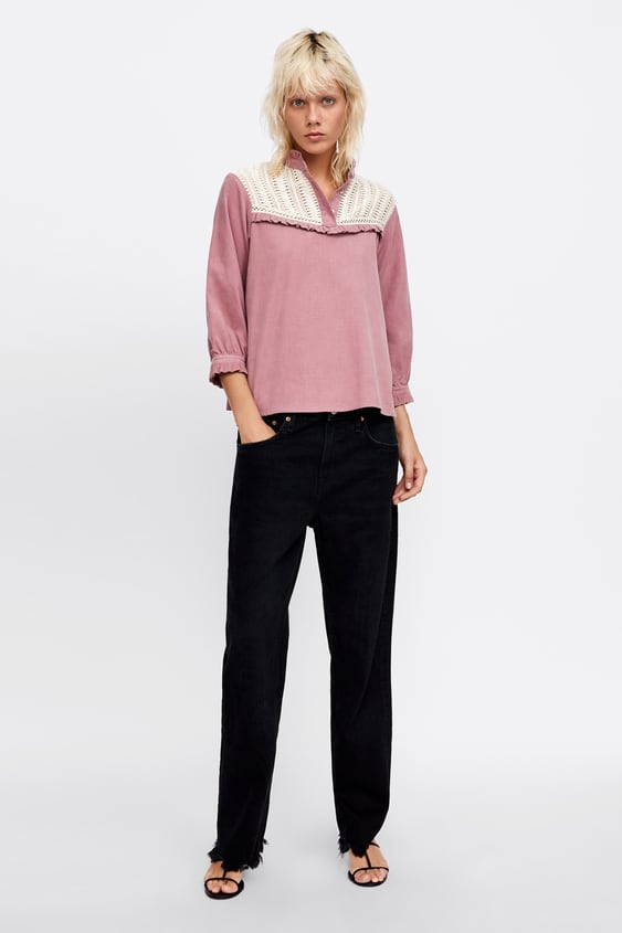 Combined Fine  Waled Corduroy Top Blouses Shirts by Zara