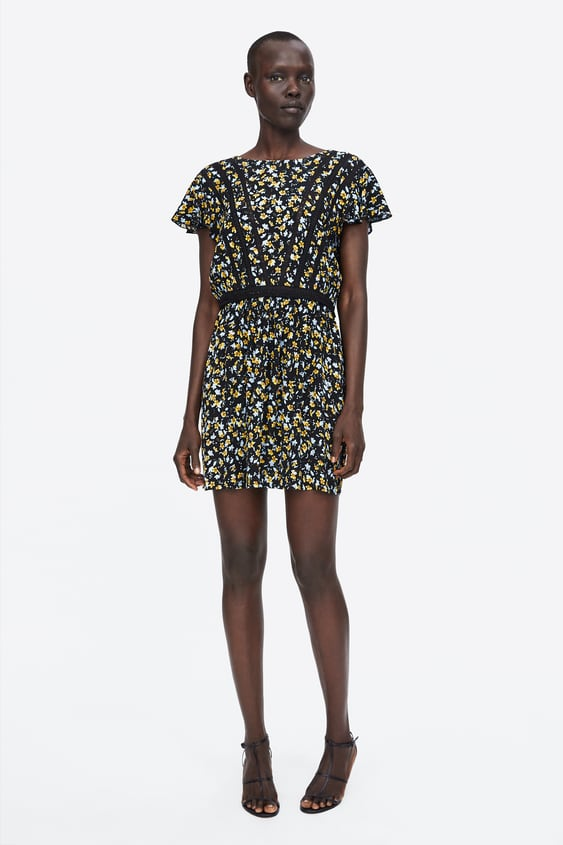 Lace  Trimmed Printed Dressnew In Woman by Zara