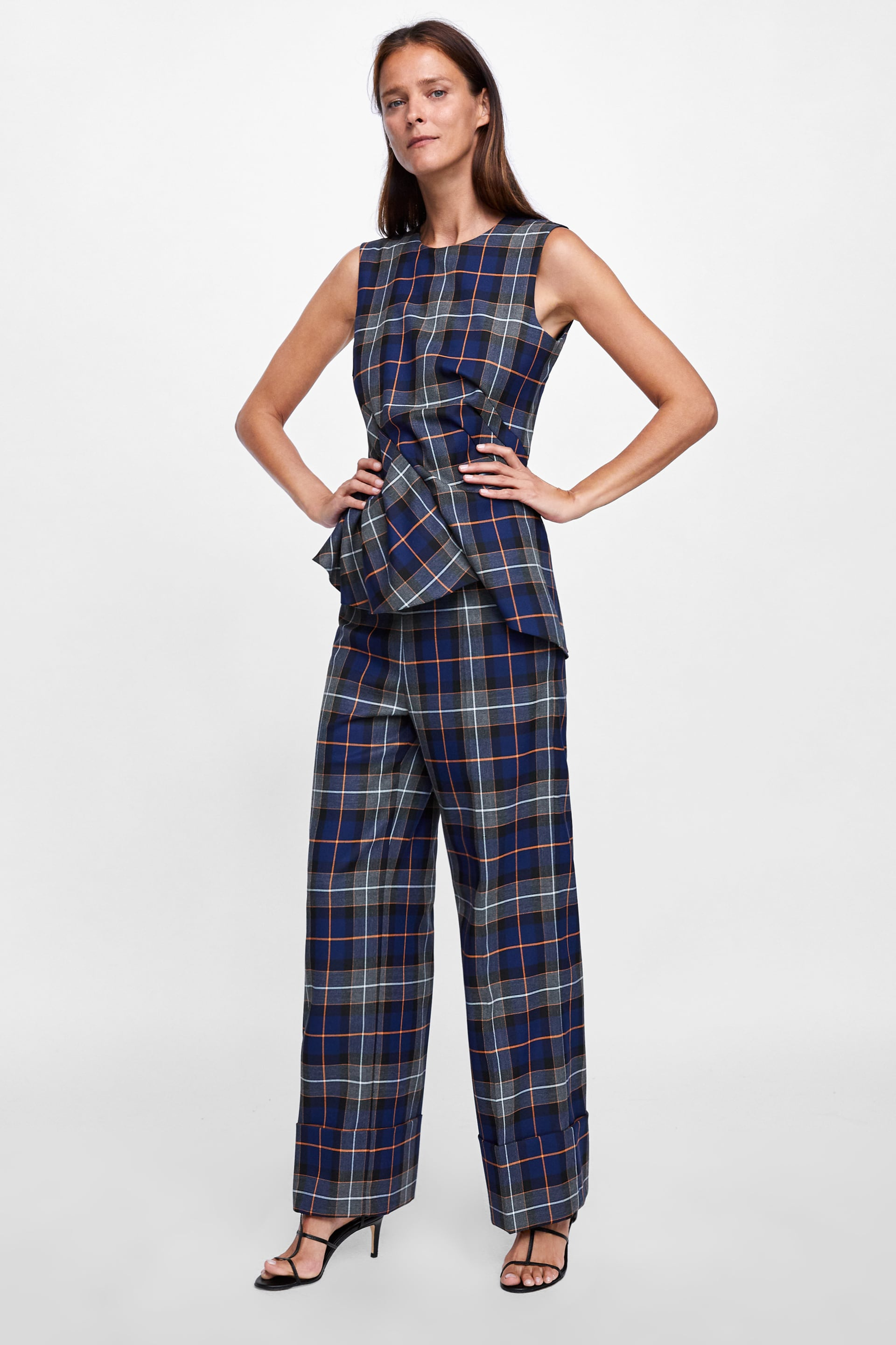 Pleated Checked Top  New Inwoman by Zara