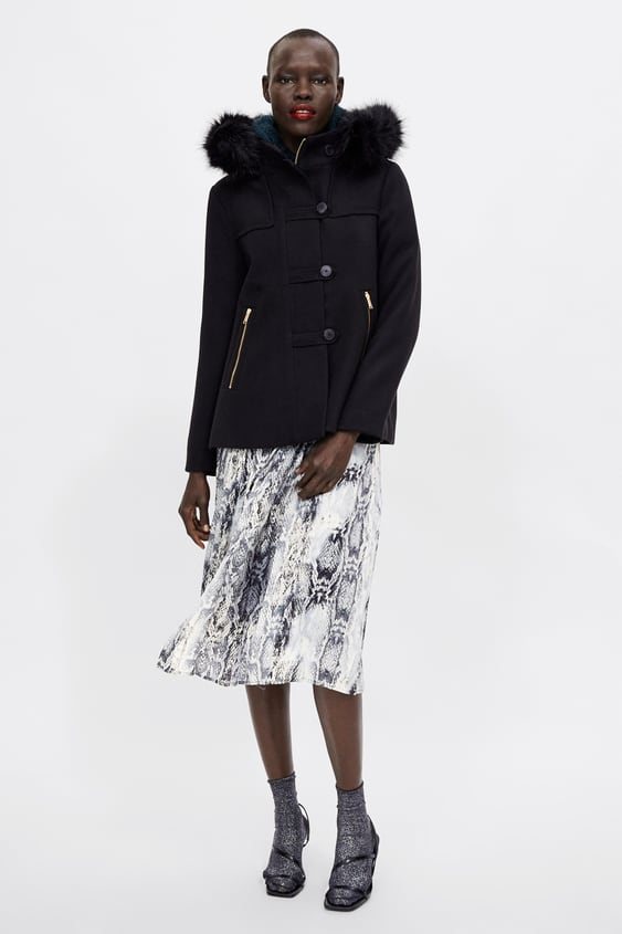 Hooded Three  Quarter Length Coatnew In Woman by Zara