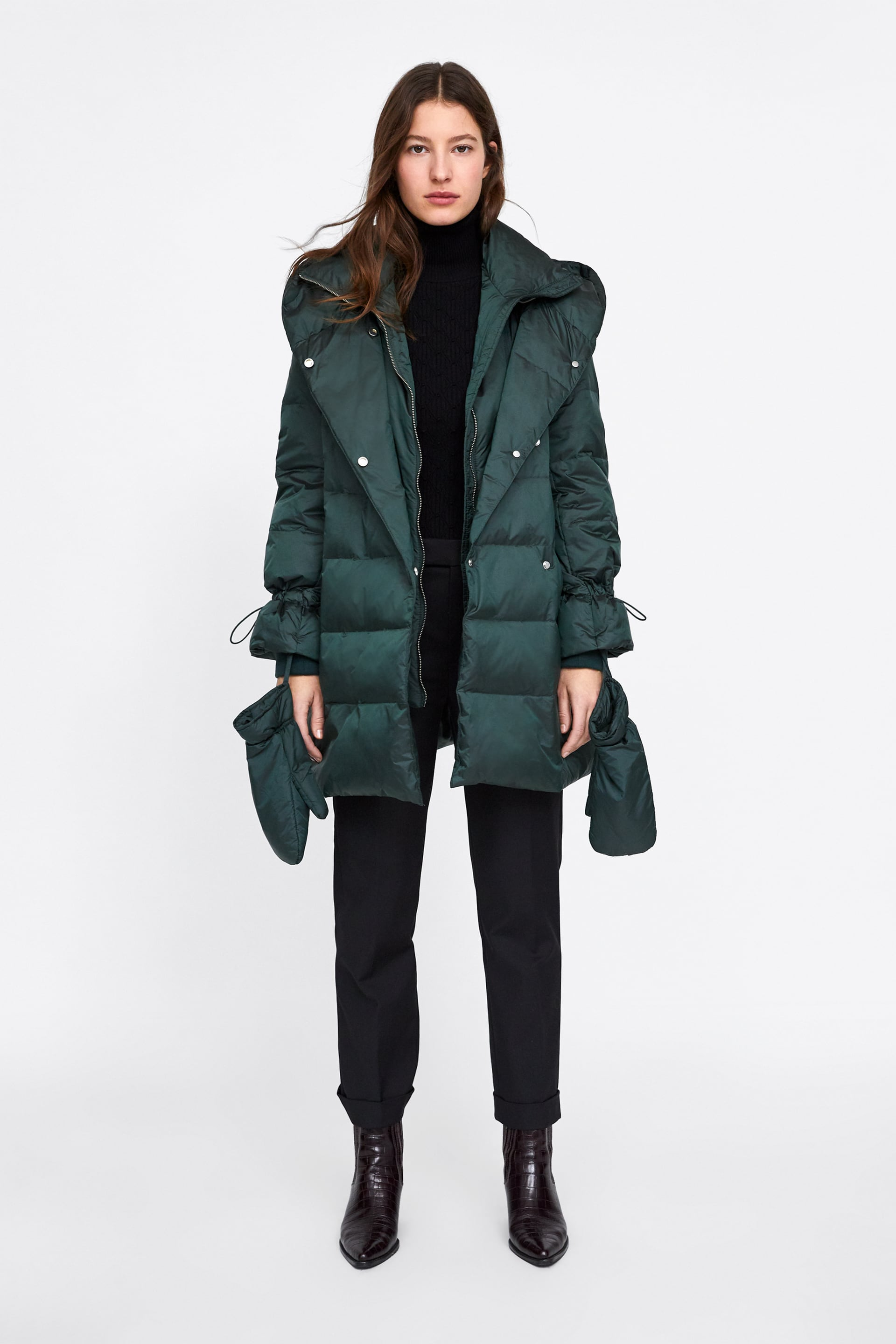 Down Coat With Wrap Collar  Editorial Puffer Coats Woman by Zara