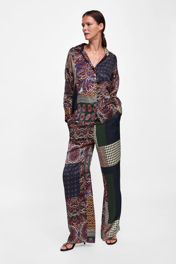 Patchwork Printed Pants  View All Pants Woman by Zara