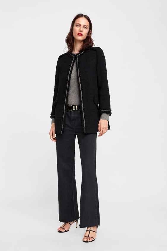 Tweed Frock Coat With Chains  Black.Coats Woman by Zara