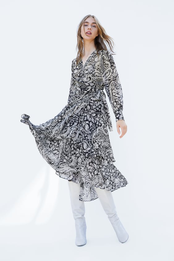 Printed Crossover Dress  View All Dresses Woman by Zara