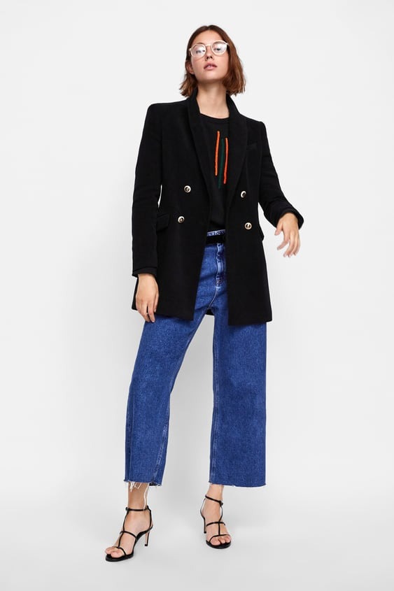 Velvet  Look Double Breasted Frock Coatblazers Woman by Zara