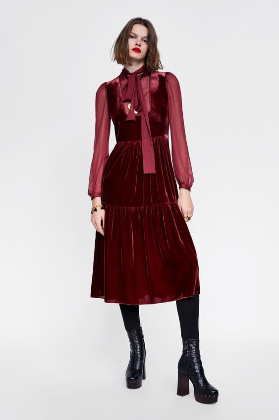 Velvet  Effect Dress Collection Campaign Collection Woman by Zara
