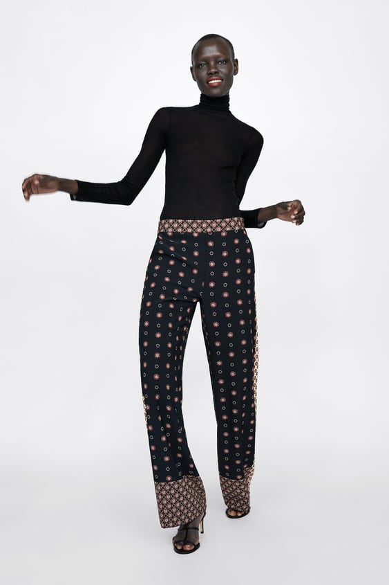 Contrasting Printed Trousers  Pantswoman by Zara