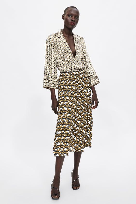 Zara Logo Pleated Skirt  Midi Skirts Woman by Zara