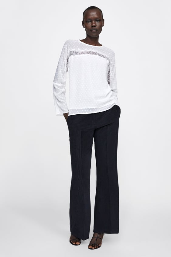 Contrast Dotted Mesh Blouse  View All Shirts by Zara