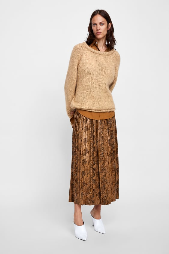 Snake Print Pleated Midi Skirt  Animal Printwoman by Zara