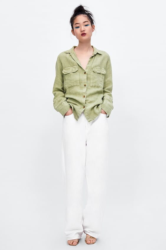 Linen Overshirt With Pockets  Shirts by Zara