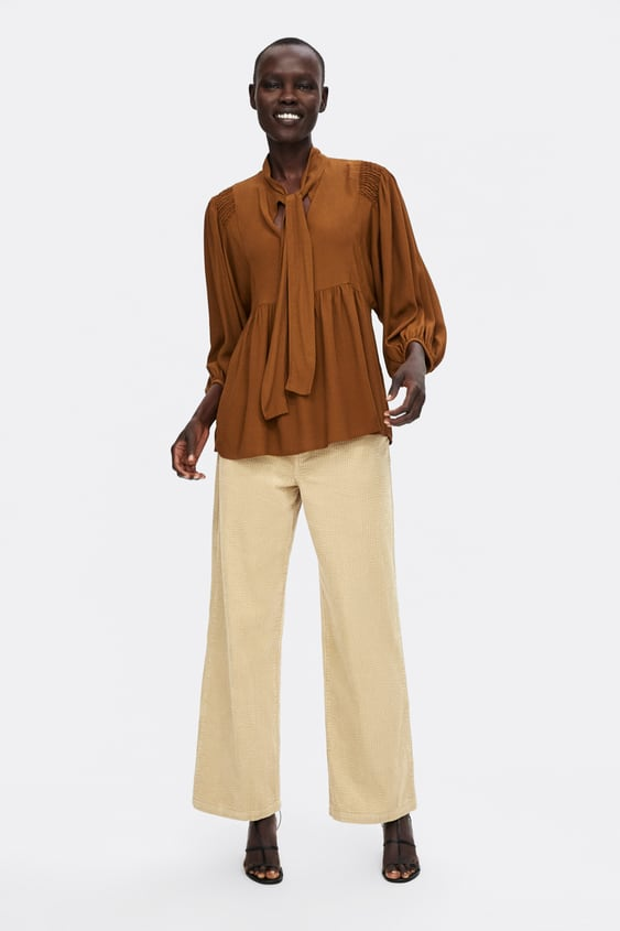 Ruffled Blouse With Tied Bow  Blouses Shirts by Zara