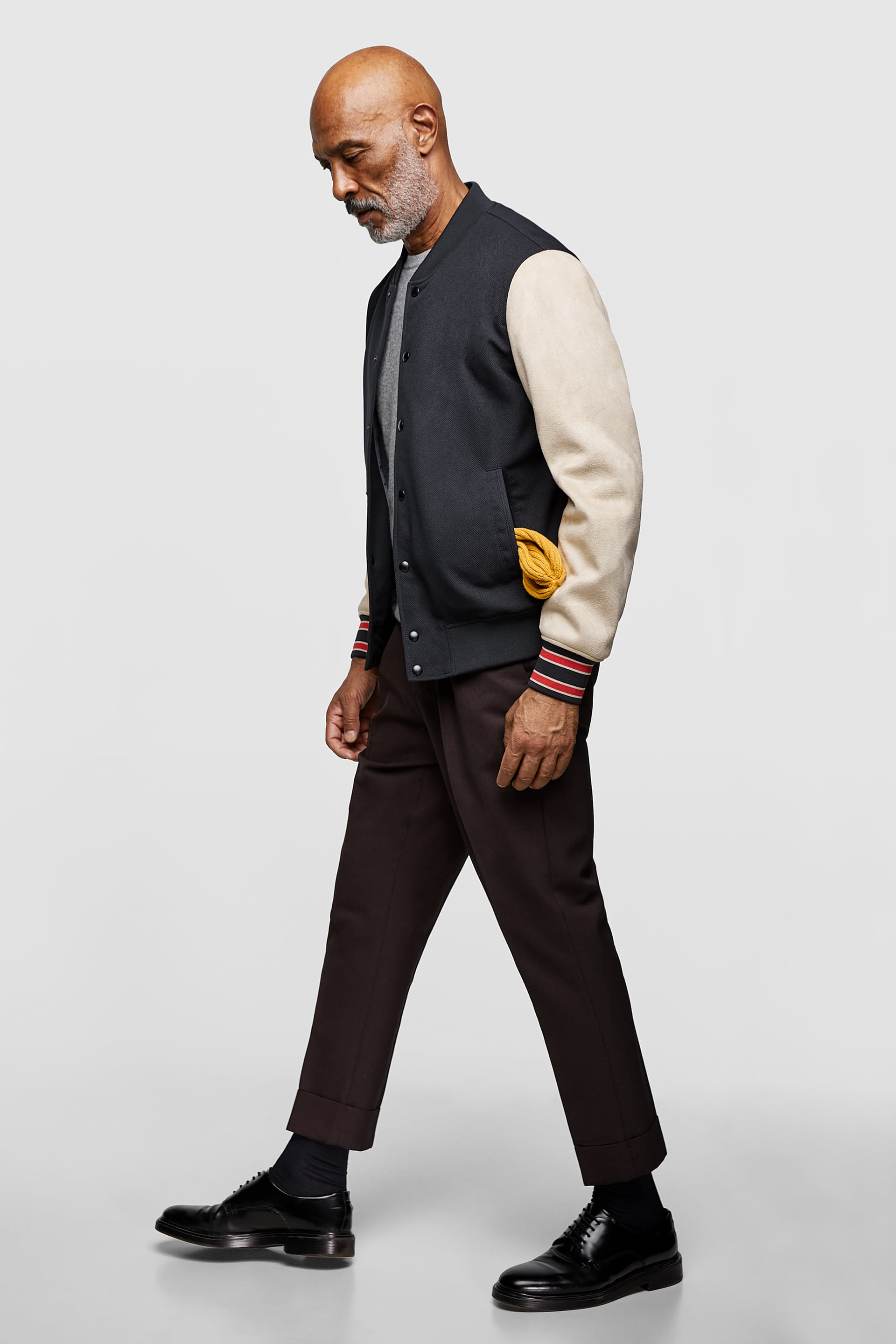 Contrast Faux Suede Bomber Jacket  Bomber Jackets Man by Zara
