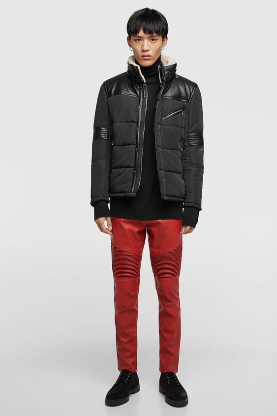 Puffer Jacket With Funnel Collar  Faux Leather Jackets Man by Zara