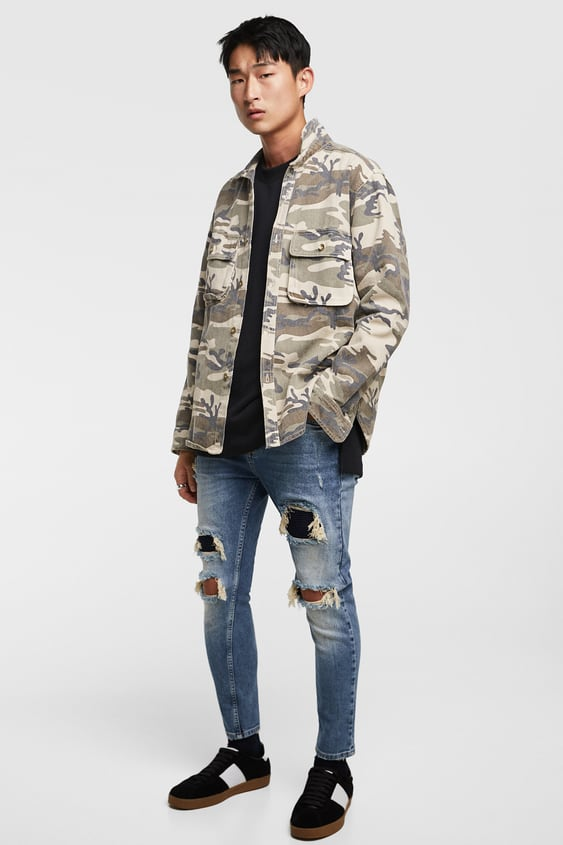 1425d0bb Shoptagr | Skinny Jeans With Patches View All Jeans Man by Zara