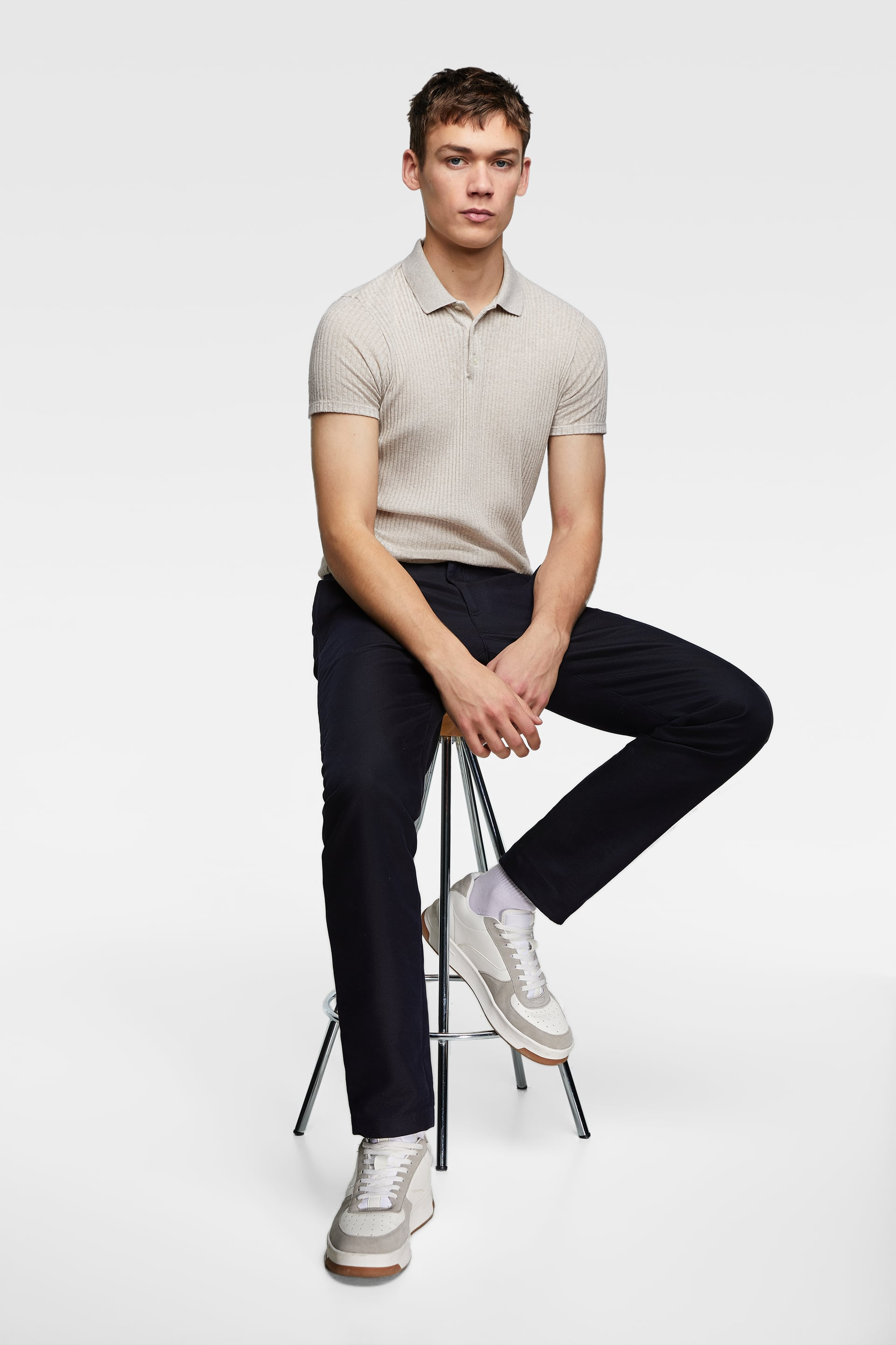 1b976d58 Zara MUSCLE FIT RIBBED POLO SWEATER at £25.99 | love the brands