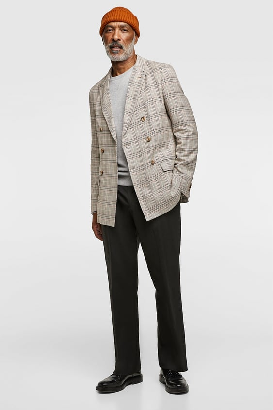 Checkered Double Breasted Suit Jacket  All Timeman by Zara