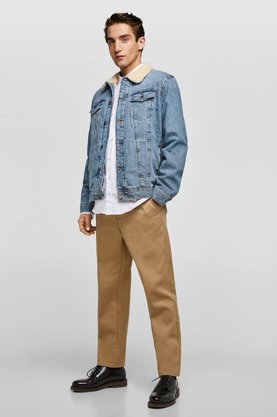 Faux Shearling And Denim Jacket  New Inman by Zara