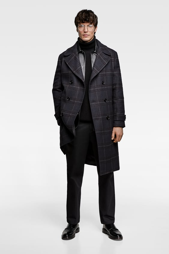 Double  Breasted Plaid Coat Coats Outerwear Man by Zara